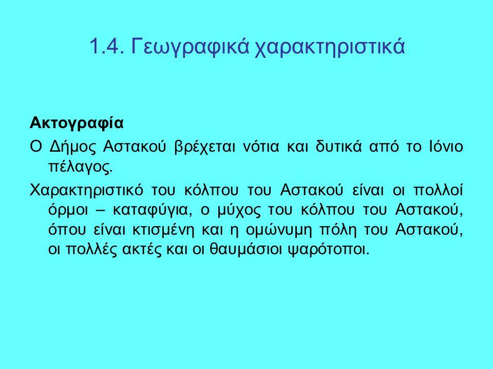 1.4. Γεωγραφικά χαρακτηριστικά Ακτογραφία Ο Δήμος Αστακού βρέχεται νότια και δυτικά από το Ιόνιο πέλαγος. Χαρακτηριστικό του κόλπου του Αστακού είναι