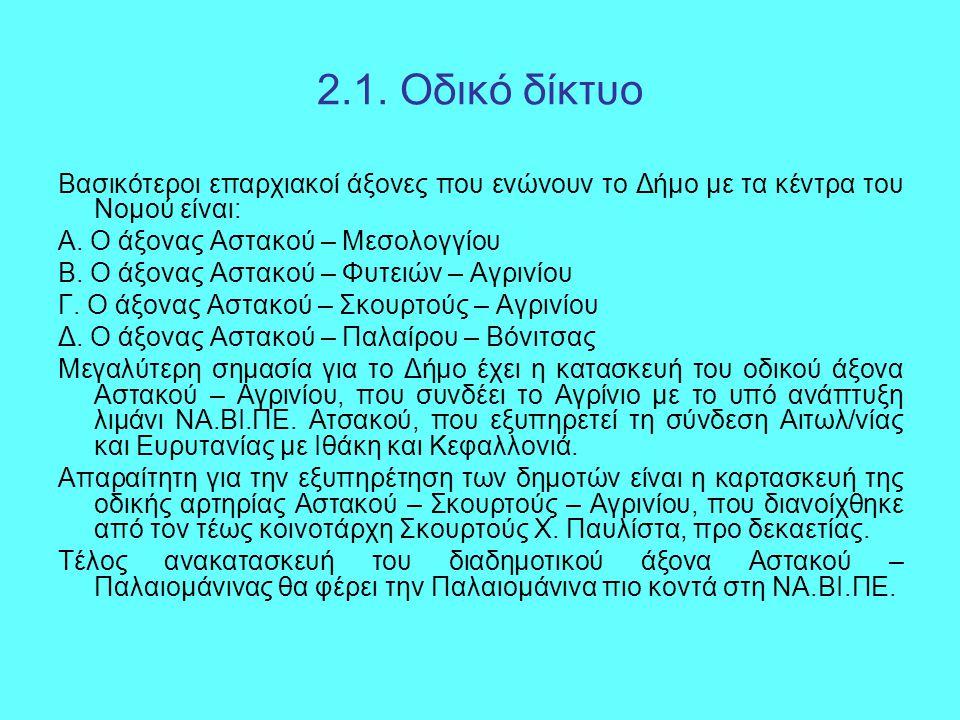 2.1. Οδικό δίκτυο Βασικότεροι επαρχιακοί άξονες που ενώνουν το Δήμο με τα κέντρα του Νομού είναι: Α. Ο άξονας Αστακού – Μεσολογγίου Β. Ο άξονας Αστακο