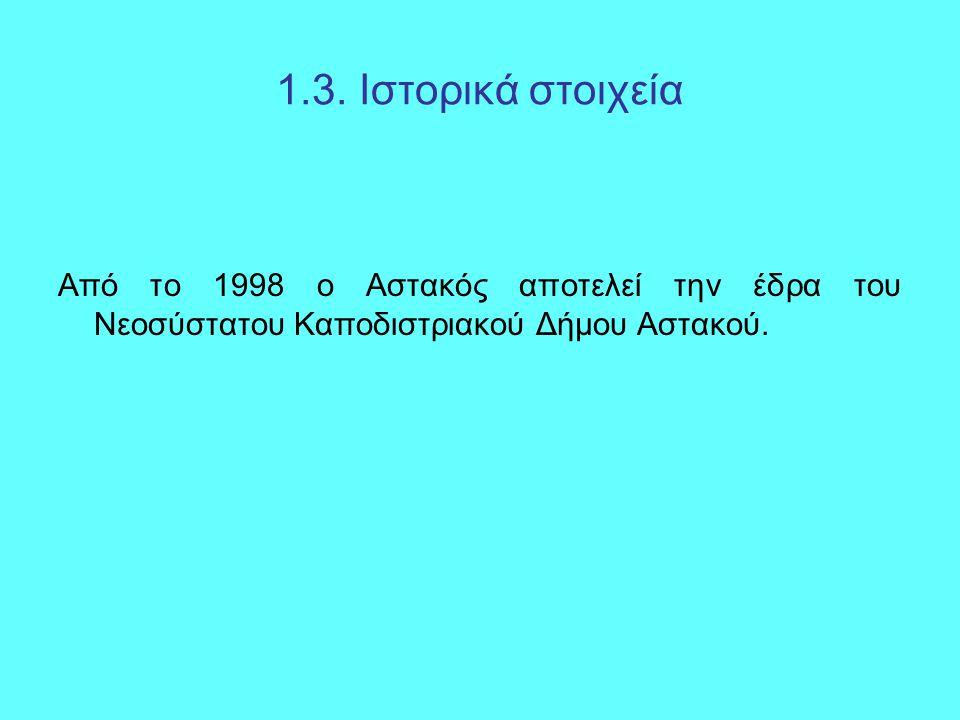 1.3. Ιστορικά στοιχεία Από το 1998 ο Αστακός αποτελεί την έδρα του Νεοσύστατου Καποδιστριακού Δήμου Αστακού.