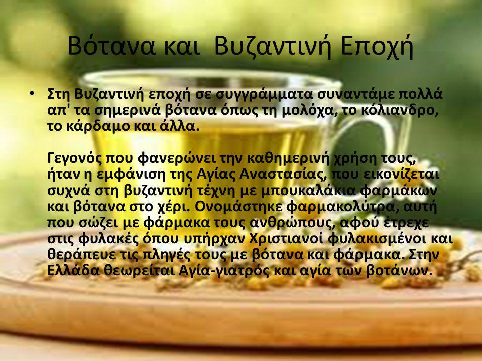 Βότανα και Βυζαντινή Εποχή Στη Βυζαντινή εποχή σε συγγράμματα συναντάμε πολλά απ' τα σημερινά βότανα όπως τη μολόχα, το κόλιανδρο, το κάρδαμο και άλλα