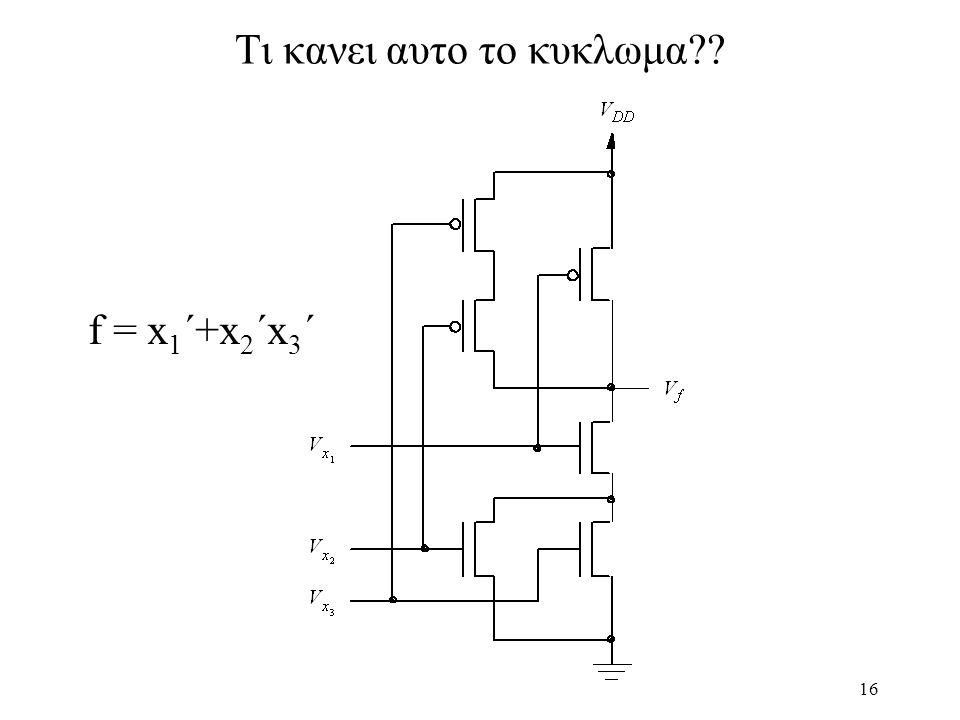 16 Tι κανει αυτο το κυκλωμα?? f = x 1 ´+x 2 ´x 3 ´