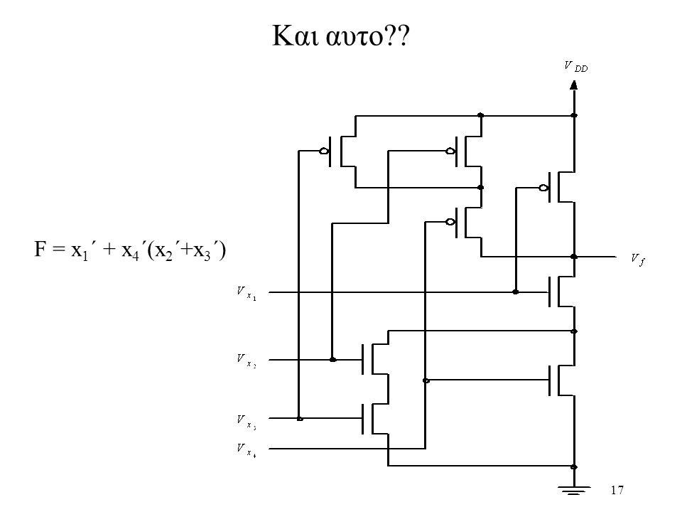 17 Και αυτο?? F = x 1 ´ + x 4 ´(x 2 ´+x 3 ´)
