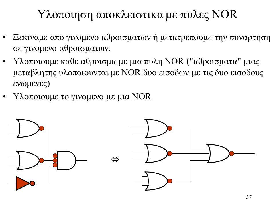 37 Υλοποιηση αποκλειστικα με πυλες NOR Ξεκιναμε απο γινομενο αθροισματων ή μετατρεπουμε την συναρτηση σε γινομενο αθροισματων. Υλοποιουμε καθε αθροισμ