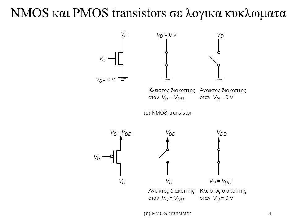 4 NMOS και PMOS transistors σε λογικα κυκλωματα (a) NMOS transistor V G V D V S = 0 V V S =V DD V D V G Κλειστος διακοπτης οτανV G =V DD V D = 0 V Ανο