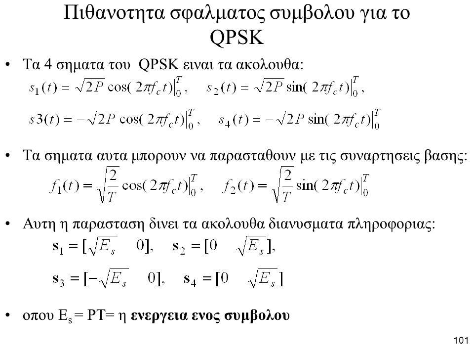 101 Πιθανοτητα σφαλματος συμβολου για το QPSK Τα 4 σηματα του QPSK ειναι τα ακολουθα: Τα σηματα αυτα μπορουν να παρασταθουν με τις συναρτησεις βασης: Αυτη η παρασταση δινει τα ακολουθα διανυσματα πληροφοριας: οπου Ε s = PT= η ενεργεια ενος συμβολου