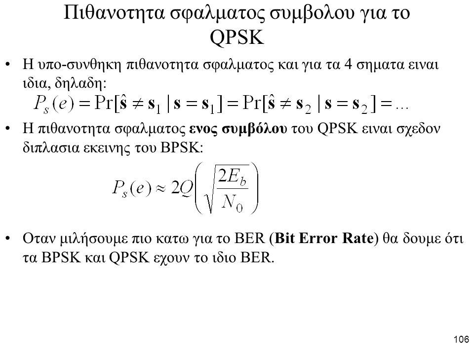 106 Πιθανοτητα σφαλματος συμβολου για το QPSK H υπο-συνθηκη πιθανοτητα σφαλματος και για τα 4 σηματα ειναι ιδια, δηλαδη: Η πιθανοτητα σφαλματος ενος συμβόλου του QPSK ειναι σχεδον διπλασια εκεινης του BPSK: Οταν μιλήσουμε πιο κατω για το BER (Bit Error Rate) θα δουμε ότι τα BPSK και QPSK εχουν το ιδιο BER.