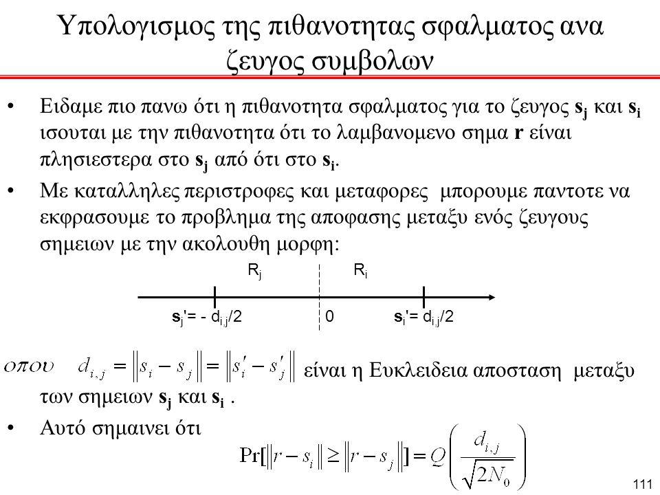 Υπολογισμος της πιθανοτητας σφαλματος ανα ζευγος συμβολων Ειδαμε πιο πανω ότι η πιθανοτητα σφαλματος για το ζευγος s j και s i ισουται με την πιθανοτητα ότι το λαμβανομενο σημα r είναι πλησιεστερα στο s j από ότι στο s i.