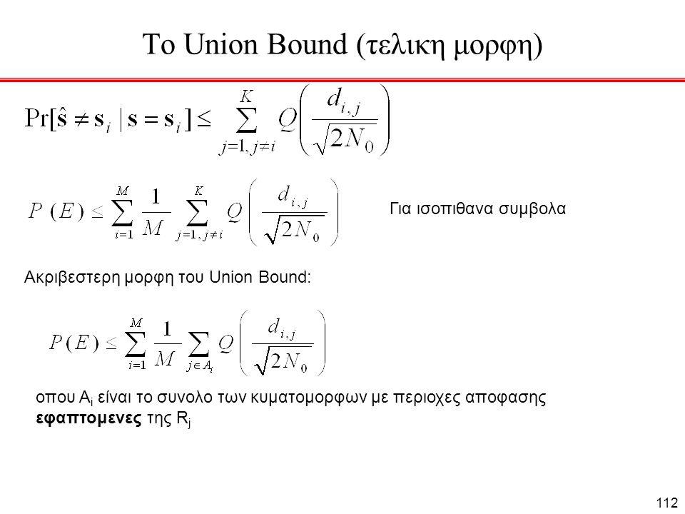 Το Union Bound (τελικη μορφη) Για ισοπιθανα συμβολα Ακριβεστερη μορφη του Union Bound: οπου Α i είναι το συνολο των κυματομορφων με περιοχες αποφασης εφαπτομενες της R j 112