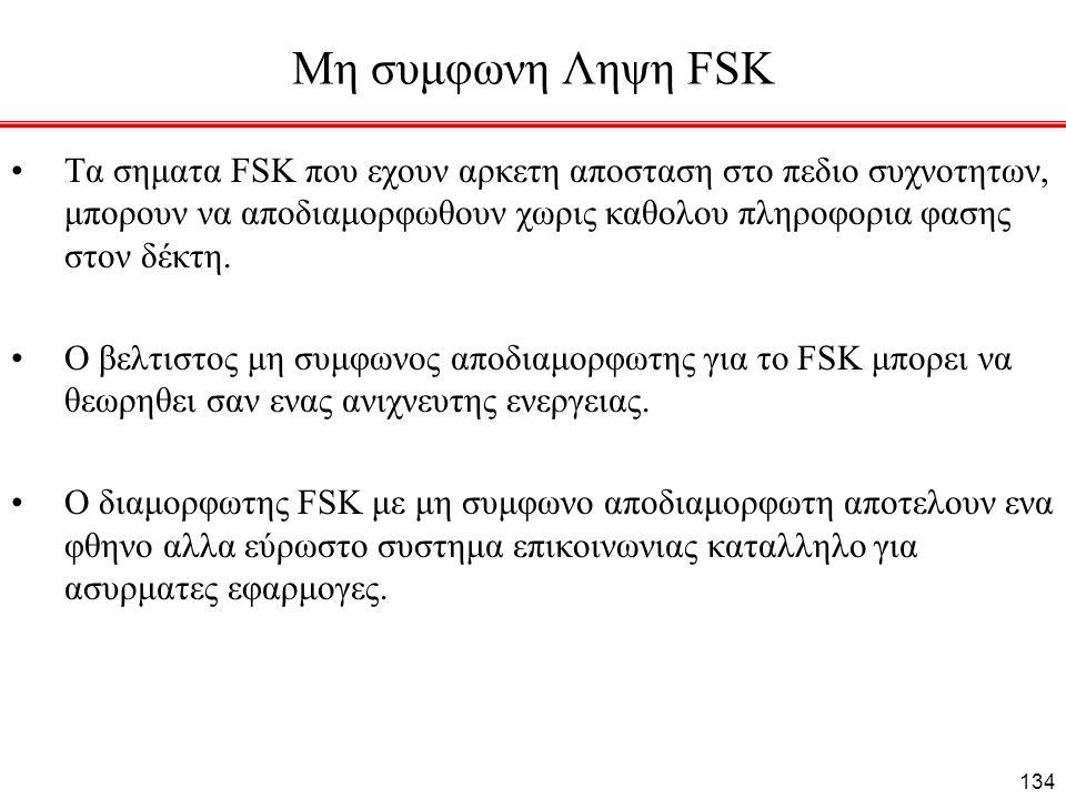 Μη συμφωνη Ληψη FSK Τα σηματα FSK που εχουν αρκετη αποσταση στο πεδιο συχνοτητων, μπορουν να αποδιαμορφωθουν χωρις καθολου πληροφορια φασης στον δέκτη