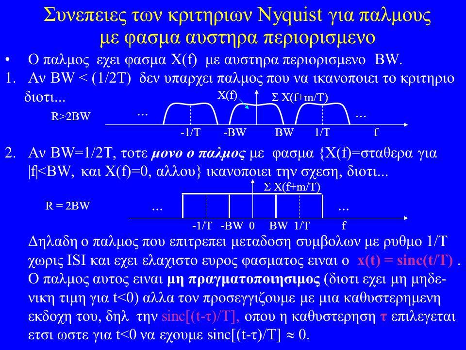 Συνεπειες των κριτηριων Nyquist για παλμους με φασμα αυστηρα περιορισμενο Ο παλμος εχει φασμα Χ(f) με αυστηρα περιορισμενο ΒW. 1.Αν BW < (1/2T) δεν υπ