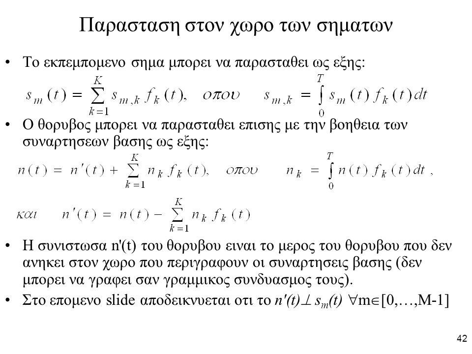 42 Παρασταση στον χωρο των σηματων Το εκπεμπομενο σημα μπορει να παρασταθει ως εξης: Ο θορυβος μπορει να παρασταθει επισης με την βοηθεια των συναρτησεων βασης ως εξης: Η συνιστωσα n (t) του θορυβου ειναι το μερος του θορυβου που δεν ανηκει στον χωρο που περιγραφουν οι συναρτησεις βασης (δεν μπορει να γραφει σαν γραμμικος συνδυασμος τους).