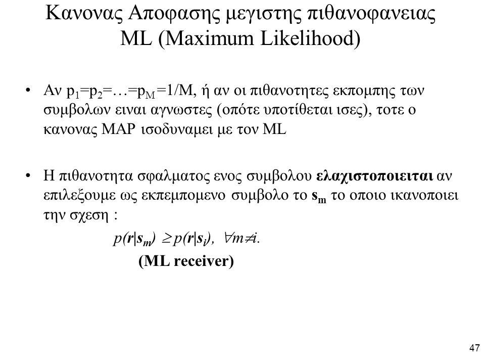 47 Κανονας Αποφασης μεγιστης πιθανοφανειας ML (Maximum Likelihood) Αν p 1 =p 2 =…=p Μ =1/M, ή αν οι πιθανοτητες εκπομπης των συμβολων ειναι αγνωστες (οπότε υποτίθεται ισες), τοτε ο κανονας MAP ισοδυναμει με τον ML H πιθανοτητα σφαλματος ενος συμβολου ελαχιστοποιειται αν επιλεξουμε ως εκπεμπομενο συμβολο το s m το οποιο ικανοποιει την σχεση : p(r|s m )  p(r|s i ),  m  i.