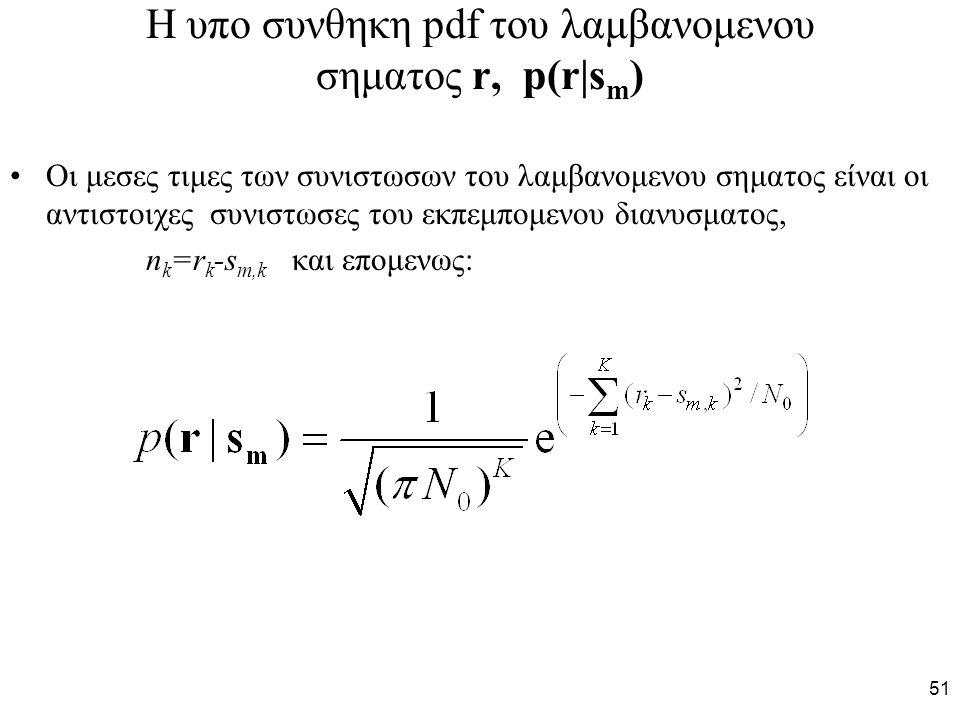 51 Η υπο συνθηκη pdf του λαμβανομενου σηματος r, p(r|s m ) Oι μεσες τιμες των συνιστωσων του λαμβανομενου σηματος είναι oι αντιστοιχες συνιστωσες του εκπεμπομενου διανυσματος, n k =r k -s m,k και επομενως: