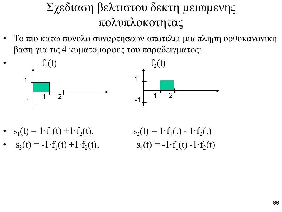 66 Σχεδιαση βελτιστου δεκτη μειωμενης πολυπλοκοτητας Το πιο κατω συνολο συναρτησεων αποτελει μια πληρη ορθοκανονικη βαση για τις 4 κυματομορφες του παραδειγματος: f 1 (t) f 2 (t) s 1 (t) = 1·f 1 (t) +1·f 2 (t), s 2 (t) = 1·f 1 (t) - 1·f 2 (t) s 3 (t) = -1·f 1 (t) +1·f 2 (t), s 4 (t) = -1·f 1 (t) -1·f 2 (t) 1 2 1 1 2 1