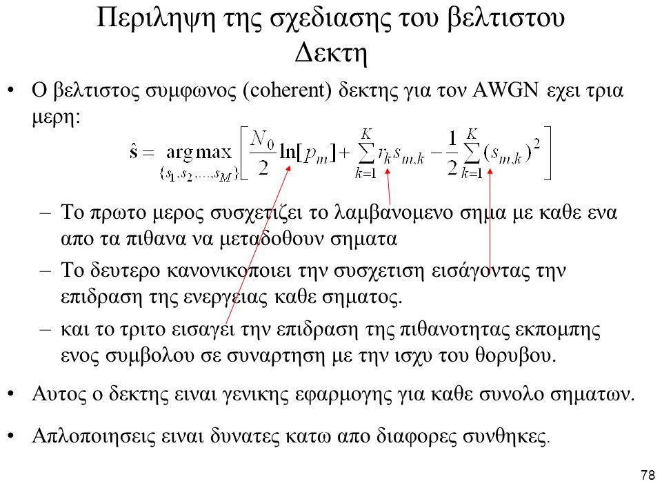 78 Περιληψη της σχεδιασης του βελτιστου Δεκτη Ο βελτιστος συμφωνος (coherent) δεκτης για τον AWGN εχει τρια μερη: –Το πρωτο μερος συσχετιζει το λαμβαν