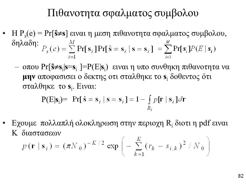 82 Πιθανοτητα σφαλματος συμβολου Η P s (e) = Pr[ŝ  s] ειναι η μεση πιθανοτητα σφαλματος συμβολου, δηλαδη: –οπου Pr[ŝ  s i |s=s i ]=P(E|s i ) ειναι η υπο συνθηκη πιθανοτητα να μην αποφασισει ο δεκτης οτι σταλθηκε το s i δοθεντος ότι σταλθηκε το s i.