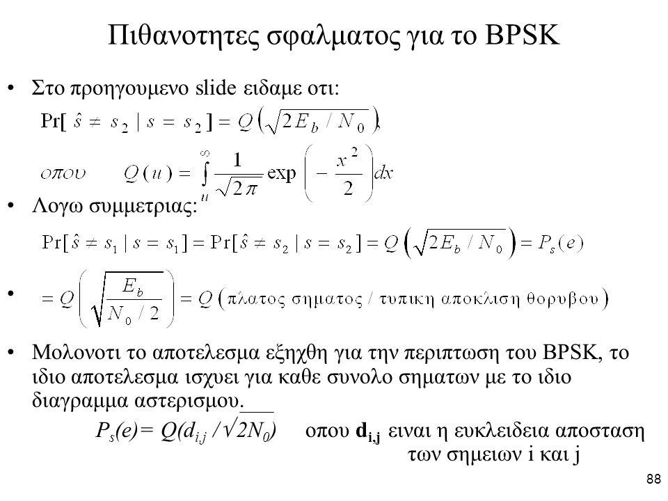 88 Πιθανοτητες σφαλματος για το BPSK Στο προηγουμενο slide ειδαμε οτι: Λογω συμμετριας: Μολονοτι το αποτελεσμα εξηχθη για την περιπτωση του BPSK, το ιδιο αποτελεσμα ισχυει για καθε συνολο σηματων με το ιδιο διαγραμμα αστερισμου.