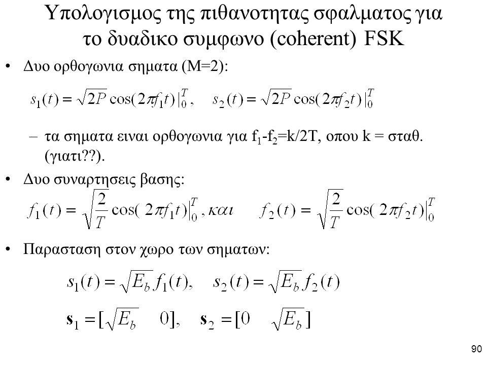 90 Υπολογισμος της πιθανοτητας σφαλματος για το δυαδικο συμφωνο (coherent) FSK Δυο ορθογωνια σηματα (Μ=2): –τα σηματα ειναι ορθογωνια για f 1 -f 2 =k/2T, οπου k = σταθ.