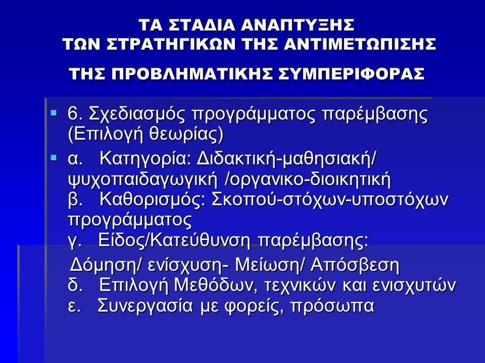 ΤΑ ΣΤΑΔΙΑ ΑΝΑΠΤΥΞΗΣ ΤΩΝ ΣΤΡΑΤΗΓΙΚΩΝ ΤΗΣ ΑΝΤΙΜΕΤΩΠΙΣΗΣ ΤΗΣ ΠΡΟΒΛΗΜΑΤΙΚΗΣ ΣΥΜΠΕΡΙΦΟΡΑΣ  6. Σχεδιασμός προγράμματος παρέμβασης (Επιλογή θεωρίας)  α. Κα