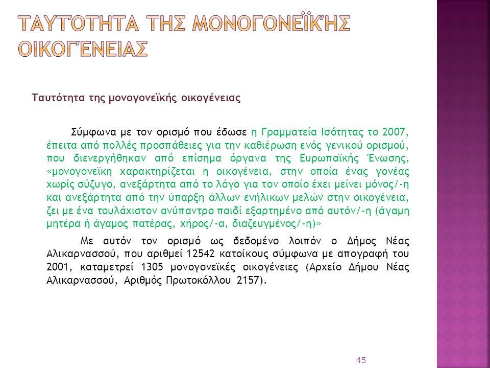 Ταυτότητα της μονογονεϊκής οικογένειας Σύμφωνα με τον ορισμό που έδωσε η Γραμματεία Ισότητας το 2007, έπειτα από πολλές προσπάθειες για την καθιέρωση