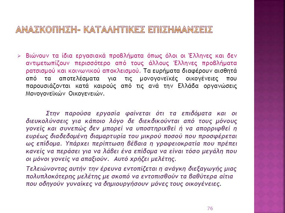 Βιώνουν τα ίδια εργασιακά προβλήματα όπως όλοι οι Έλληνες και δεν αντιμετωπίζουν περισσότερο από τους άλλους Έλληνες προβλήματα ρατσισμού και κοινων