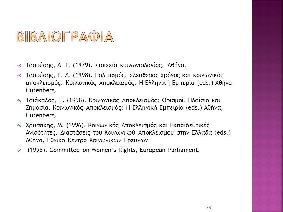  Τσαούσης, Δ. Γ. (1979). Στοιχεία κοινωνιολογίας. Αθήνα.  Τσαούσης, Γ. Δ. (1998). Πολιτισμός, ελεύθερος χρόνος και κοινωνικός αποκλεισμός. Κοινωνικό