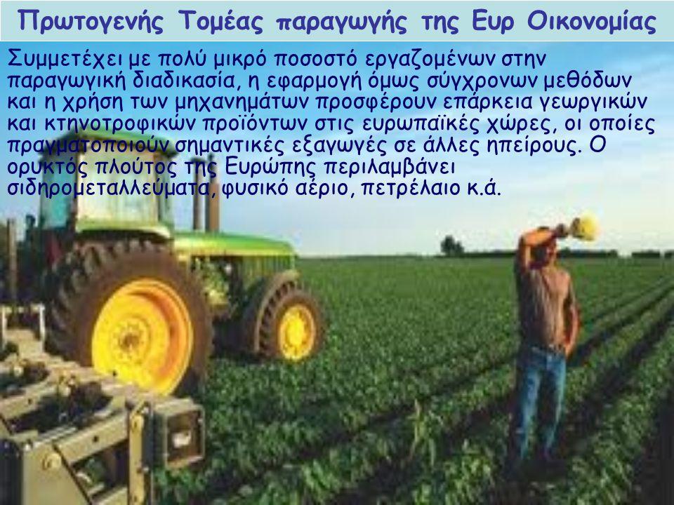 Συμμετέχει με σημαντικό ποσοστό εργαζομένων και πολλές ευρωπαϊκές χώρες αποτελούν μεγάλες βιομηχανικές δυνάμεις.