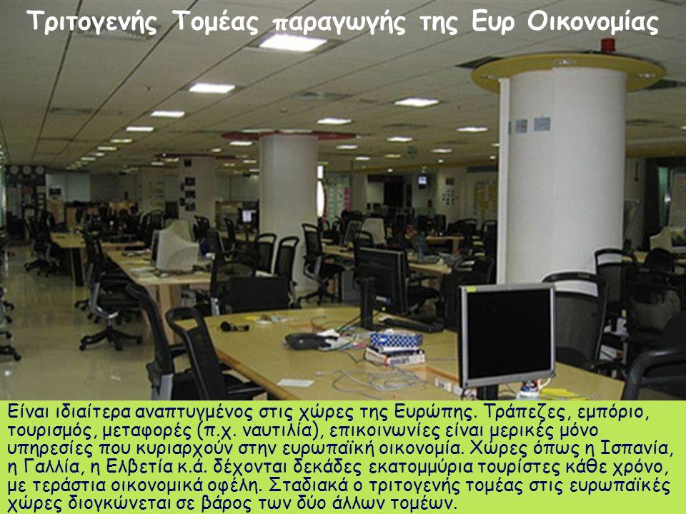 Είναι ιδιαίτερα αναπτυγμένος στις χώρες της Ευρώπης. Τράπεζες, εμπόριο, τουρισμός, μεταφορές (π.χ. ναυτιλία), επικοινωνίες είναι μερικές μόνο υπηρεσίε