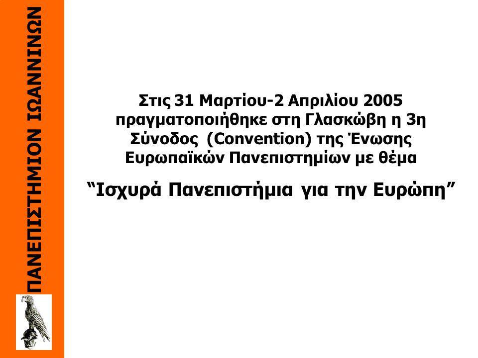 Στις 31 Mαρτίου-2 Aπριλίου 2005 πραγματοποιήθηκε στη Γλασκώβη η 3η Σύνοδος (Convention) της Ένωσης Eυρωπαϊκών Πανεπιστημίων με θέμα Iσχυρά Πανεπιστήμια για την Eυρώπη