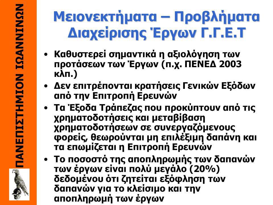 ΠΑΝΕΠΙΣΤΗΜΙΟΝ ΙΩΑΝΝΙΝΩΝ Πλεονεκτήματα Έργων Γ.Γ.Ε.Τ. Επιχορήγηση Εθνικής Συμμετοχής των Ευρωπαϊκών Προγραμμάτων Γνωστό σύστημα απολογισμού δαπανών και