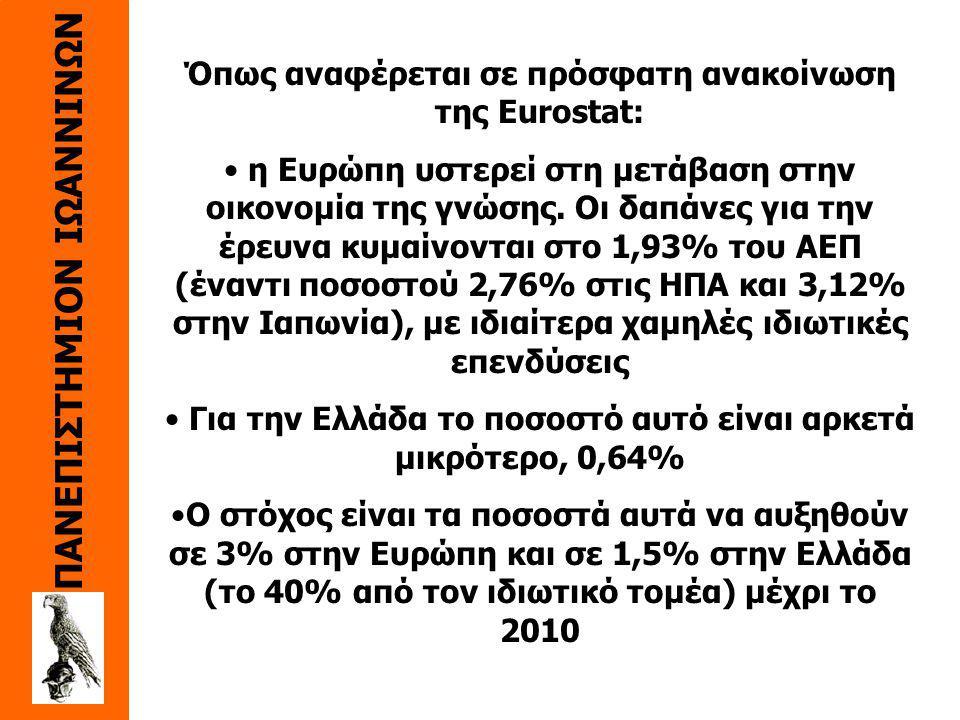 ΠΑΝΕΠΙΣΤΗΜΙΟΝ ΙΩΑΝΝΙΝΩΝ Όπως αναφέρεται σε πρόσφατη ανακοίνωση της Eurostat: η Ευρώπη υστερεί στη μετάβαση στην οικονομία της γνώσης.