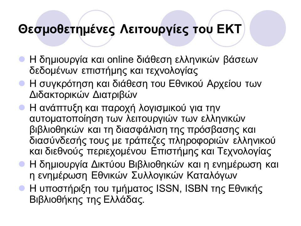 Θεσμοθετημένες Λειτουργίες του ΕΚΤ Η δημιουργία και online διάθεση ελληνικών βάσεων δεδομένων επιστήμης και τεχνολογίας Η συγκρότηση και διάθεση του Εθνικού Αρχείου των Διδακτορικών Διατριβών Η ανάπτυξη και παροχή λογισμικού για την αυτοματοποίηση των λειτουργιών των ελληνικών βιβλιοθηκών και τη διασφάλιση της πρόσβασης και διασύνδεσής τους με τράπεζες πληροφοριών ελληνικού και διεθνούς περιεχομένου Επιστήμης και Τεχνολογίας Η δημιουργία Δικτύου Βιβλιοθηκών και η ενημέρωση και η ενημέρωση Εθνικών Συλλογικών Καταλόγων Η υποστήριξη του τμήματος ISSN, ISBN της Εθνικής Βιβλιοθήκης της Ελλάδας.