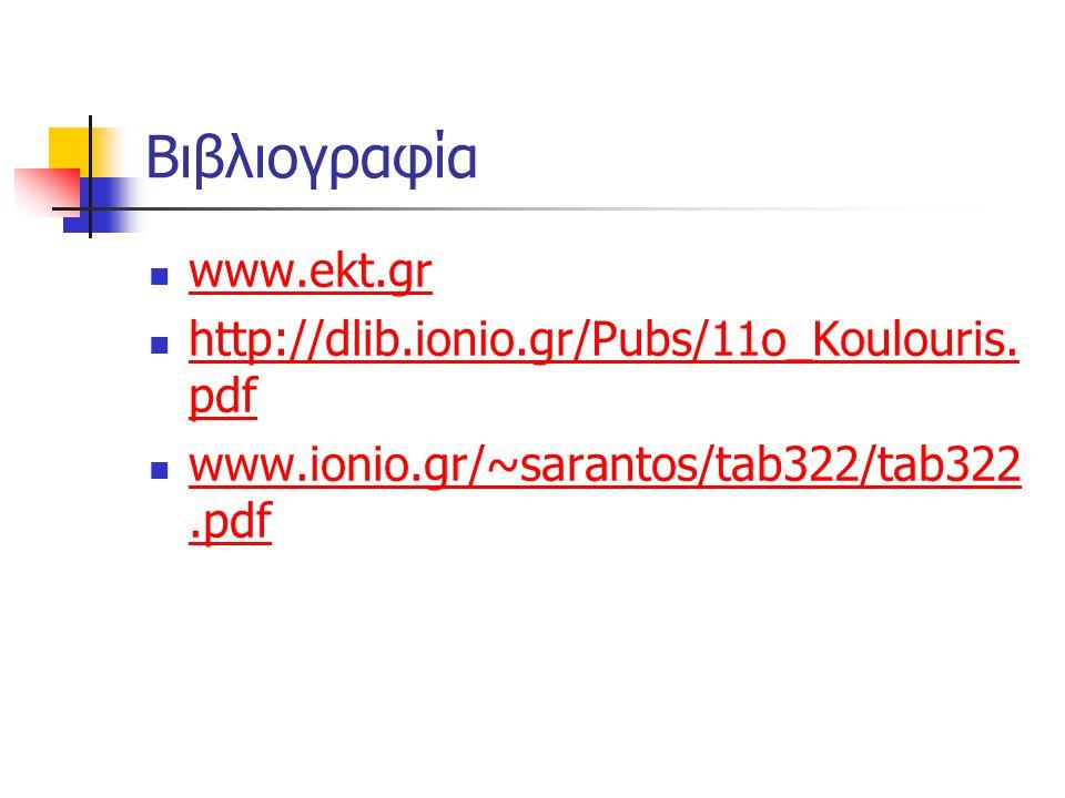 Βιβλιογραφία www.ekt.gr www.ekt.gr http://dlib.ionio.gr/Pubs/11o_Koulouris. pdf http://dlib.ionio.gr/Pubs/11o_Koulouris. pdf www.ionio.gr/~sarantos/ta