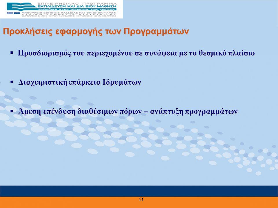 Προκλήσεις εφαρμογής των Προγραμμάτων  Προσδιορισμός του περιεχομένου σε συνάφεια με το θεσμικό πλαίσιο  Διαχειριστική επάρκεια Ιδρυμάτων  Άμεση επένδυση διαθέσιμων πόρων – ανάπτυξη προγραμμάτων 12