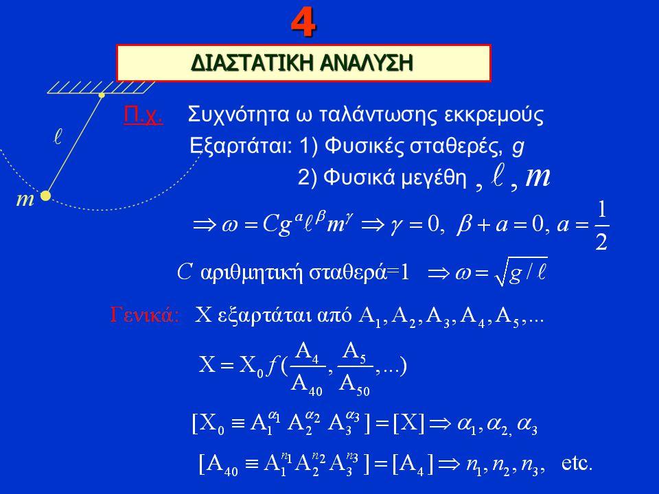 Π.χ. Συχνότητα ω ταλάντωσης εκκρεμούς Εξαρτάται: 1) Φυσικές σταθερές, g 2) Φυσικά μεγέθη 4 ΔΙΑΣΤΑΤΙΚΗ ΑΝΑΛΥΣΗ