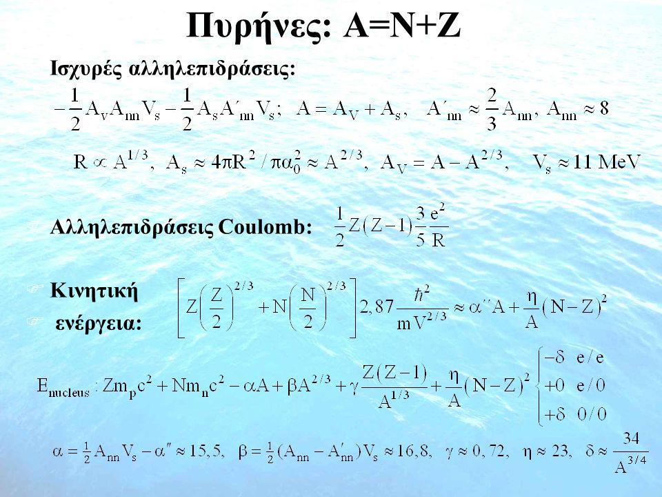 Πυρήνες: A=N+Z  Ισχυρές αλληλεπιδράσεις:  Αλληλεπιδράσεις Coulomb:  Kινητική  ενέργεια: