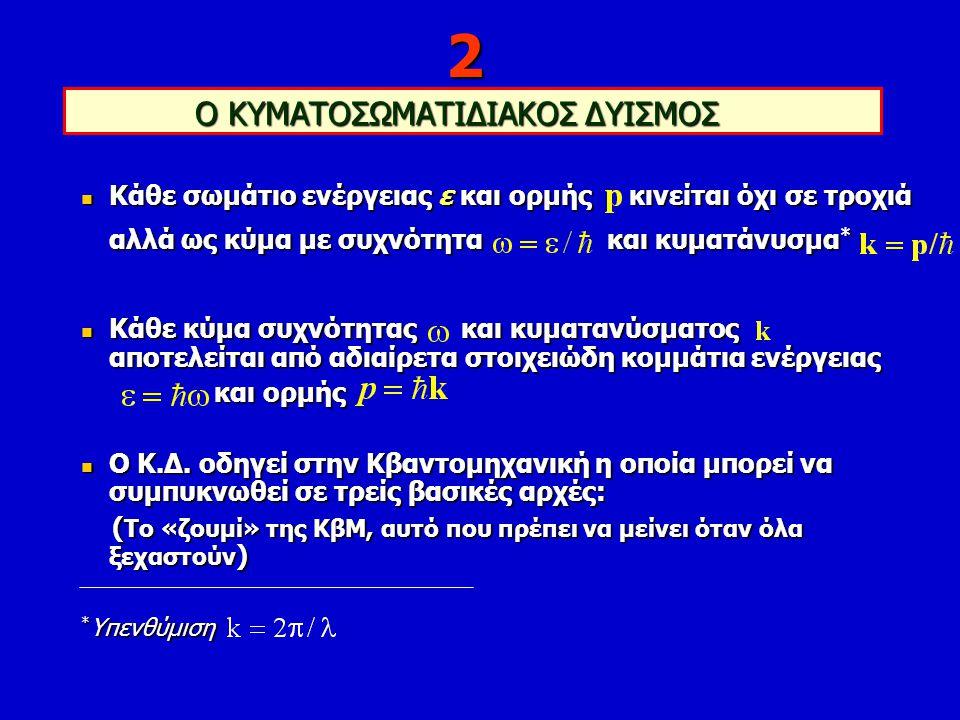 ΟΙ ΤΡΕΙΣ ΑΡΧΕΣ ΤΗΣ ΚΒΑΝΤΟΜΗΧΑΝΙΚΗΣ 1)Αρχή του Heisenberg: 2)Αρχή του Pauli: N όμοια σωμάτια με σπιν 1/2 δεν συγκατοικούν 3)Αρχή του Schrödinger: ή σύνθετα σωμάτια συμπεριφέρονται ως στοιχειώδη μέχρι το όριο Δε.