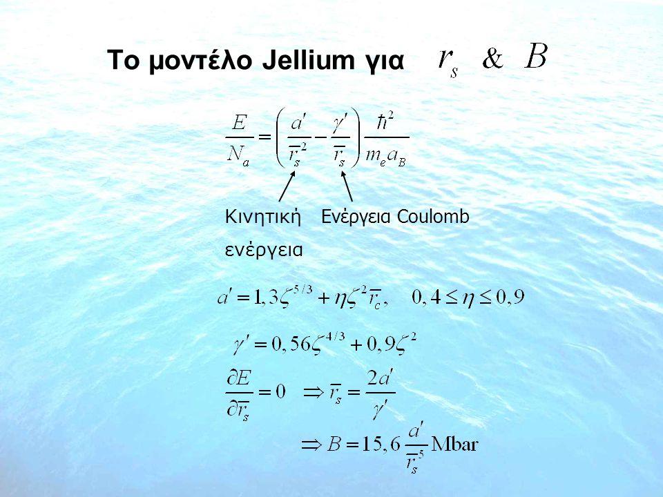 Tο μοντέλο Jellium για Kινητική Ενέργεια Coulomb ενέργεια