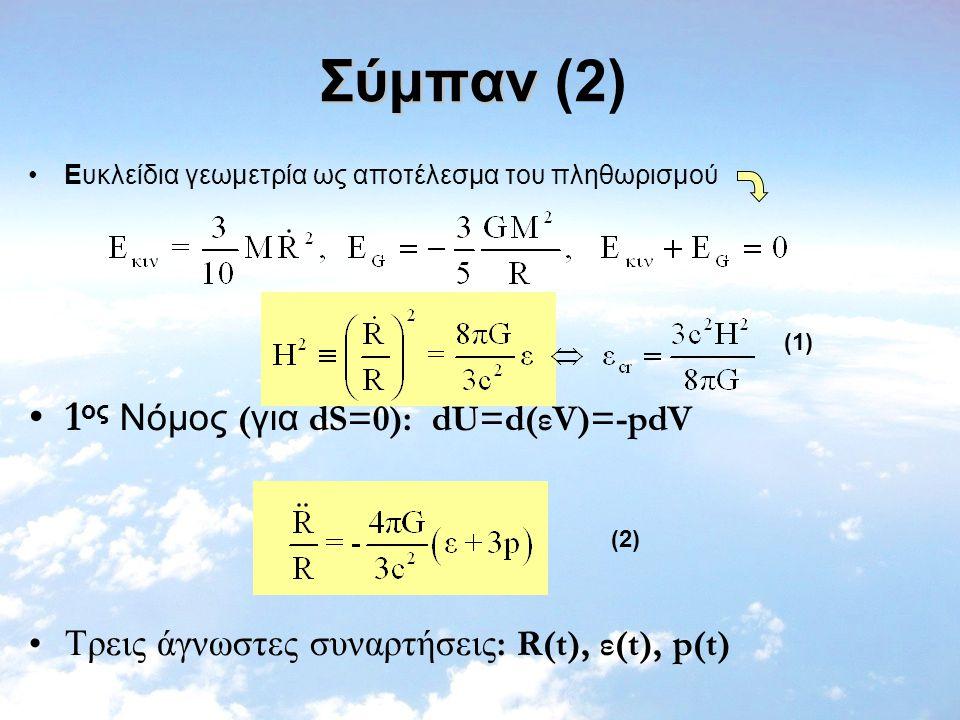 Σύμπαν Σύμπαν (2) Eυκλείδια γεωμετρία ως αποτέλεσμα του πληθωρισμού 1 ος Νόμος ( για dS=0): dU=d(εV)=-pdV Tρεις άγνωστες συναρτήσεις : R(t), ε(t), p(t