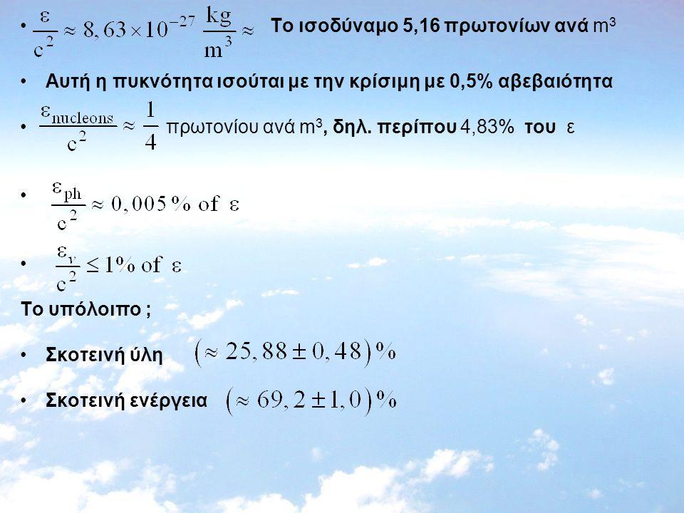 Το ισοδύναμο 5,16 πρωτονίων ανά m 3 Αυτή η πυκνότητα ισούται με την κρίσιμη με 0,5% αβεβαιότητα πρωτονίoυ ανά m 3, δηλ. περίπου 4,83% του ε Tο υπόλοιπ