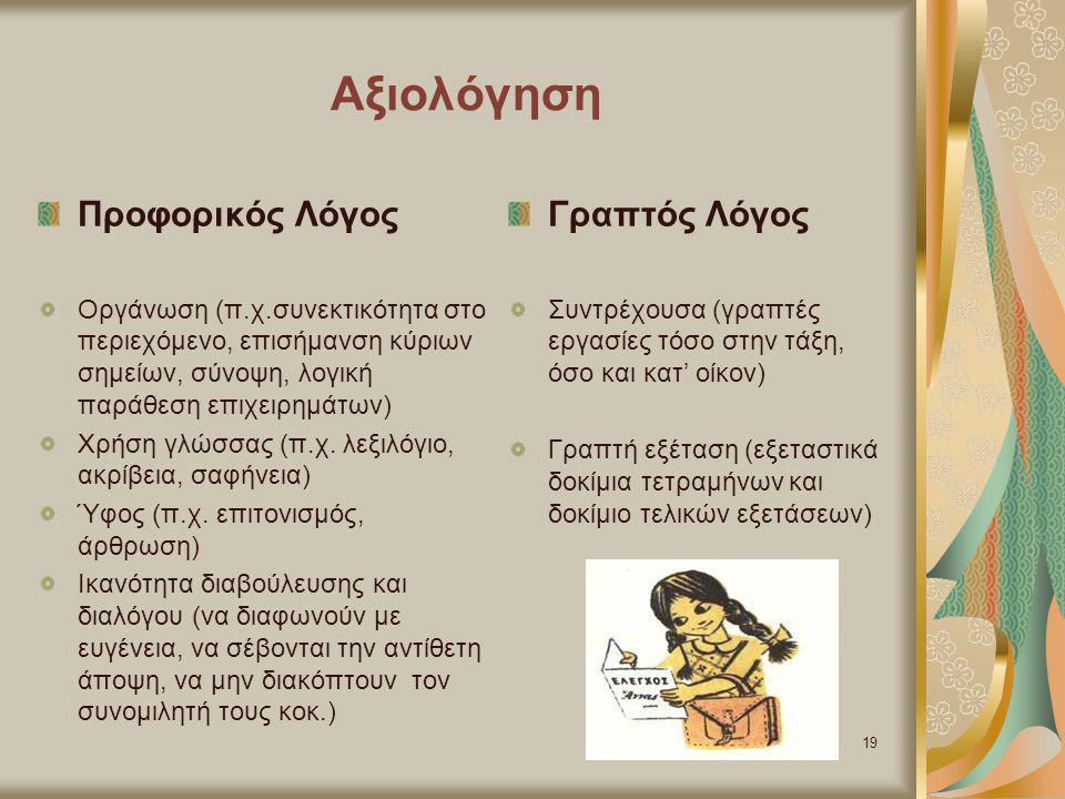 Αξιολόγηση Προφορικός Λόγος Οργάνωση (π.χ.συνεκτικότητα στο περιεχόμενο, επισήμανση κύριων σημείων, σύνοψη, λογική παράθεση επιχειρημάτων) Χρήση γλώσσ