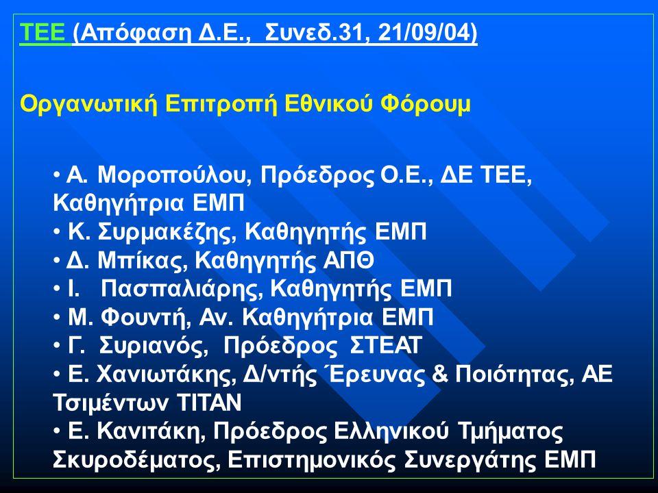 ΤΕΕ (Απόφαση Δ.Ε., Συνεδ.31, 21/09/04) Οργανωτική Επιτροπή Εθνικού Φόρουμ Α.