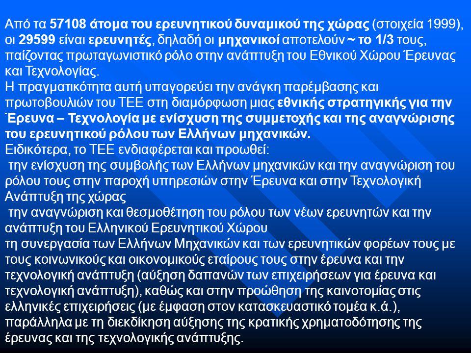 Οι δράσεις του ΤΕΕ Παράλληλα, δημιουργεί τις υποδομές της καταγραφής διαδικτύωσης και κινητικότητας των Ελλήνων Μηχανικών και συγκεκριμένα:  ολοκληρώνει το Αρχείο Ελλήνων Μηχανικών που ασχολούνται με την έρευνα  έχει αναμορφώσει τις ιστοσελίδες του στην Τράπεζα πληροφοριών του ΤΕΕ, ώστε να ενημερώνονται άμεσα οι Έλληνες μηχανικοί γι όλες τις εξελίξεις και κυρίως για τις προκηρύξεις; Ερευνητικών προγραμμάτων σε εθνικό και ευρωπαϊκό επίπεδο  συμβάλλει σε συνεργασία με τα Ανώτατα Εκπαιδευτικά Ιδρύματα και Ερευνητικά Κέντρα της χώρας στη διαμόρφωση προϋποθέσεων εθνικής υποστήριξης για τη συμμετοχή των Ελλήνων μηχανικών στην προετοιμασία των ευρωπαϊκών τεχνικών κοινοπραξιών στους αντίστοιχους τομείς