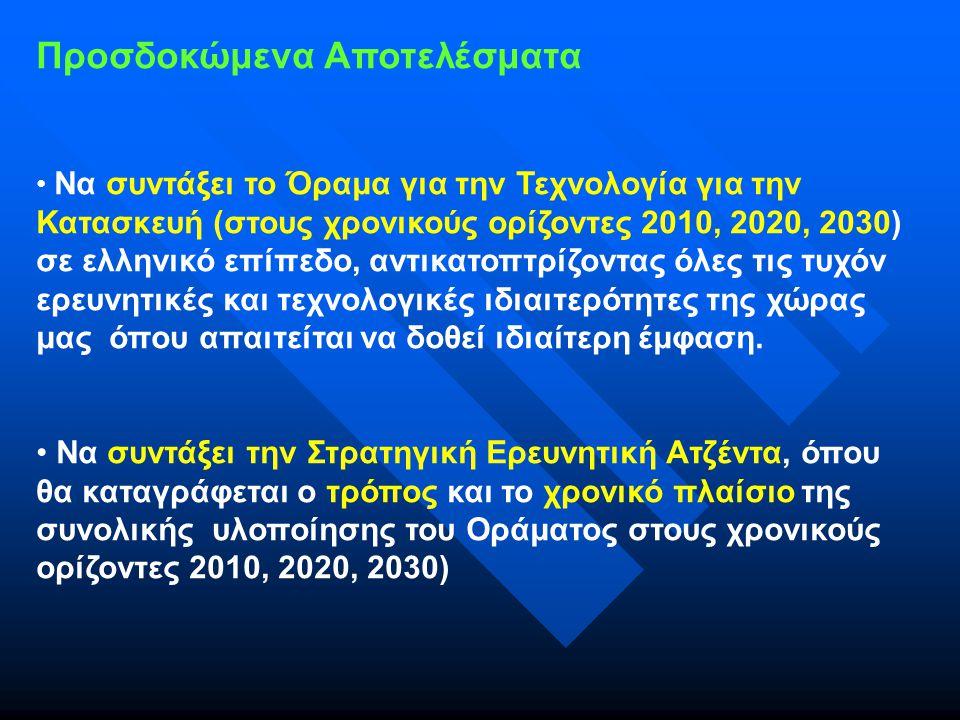 Προσδοκώμενα Αποτελέσματα Να συντάξει το Όραμα για την Τεχνολογία για την Κατασκευή (στους χρονικούς ορίζοντες 2010, 2020, 2030) σε ελληνικό επίπεδο, αντικατοπτρίζοντας όλες τις τυχόν ερευνητικές και τεχνολογικές ιδιαιτερότητες της χώρας μας όπου απαιτείται να δοθεί ιδιαίτερη έμφαση.