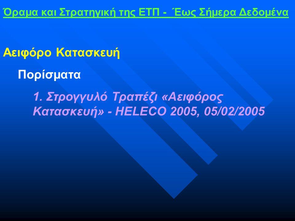 Όραμα και Στρατηγική της ΕΤΠ - Έως Σήμερα Δεδομένα Αειφόρο Κατασκευή Πορίσματα 1.