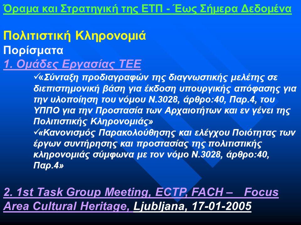 Όραμα και Στρατηγική της ΕΤΠ - Έως Σήμερα Δεδομένα Πολιτιστική Κληρονομιά Πορίσματα 1.