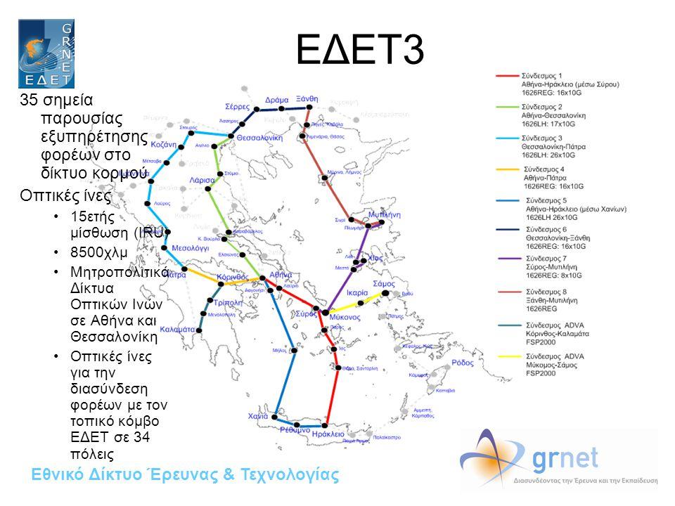 Εθνικό Δίκτυο Έρευνας & Τεχνολογίας ΕΔΕΤ3 35 σημεία παρουσίας εξυπηρέτησης φορέων στο δίκτυο κορμού Οπτικές ίνες 15ετής μίσθωση (IRU) 8500χλμ Μητροπολιτικά Δίκτυα Οπτικών Ινών σε Αθήνα και Θεσσαλονίκη Οπτικές ίνες για την διασύνδεση φορέων με τον τοπικό κόμβο ΕΔΕΤ σε 34 πόλεις