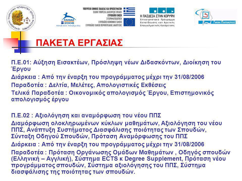 Π.Ε.01: Αύξηση Εισακτέων, Πρόσληψη νέων Διδασκόντων, Διοίκηση του Έργου Διάρκεια : Από την έναρξη του προγράμματος μέχρι την 31/08/2006 Παραδοτέα : Δελτία, Μελέτες, Απολογιστικές Εκθέσεις Τελικά Παραδοτέα : Οικονομικός απολογισμός Έργου, Επιστημονικός απολογισμός έργου Π.Ε.02 : Αξιολόγηση και αναμόρφωση του νέου ΠΠΣ Διαμόρφωση ολοκληρωμένων κύκλων μαθημάτων, Αξιολόγηση του νέου ΠΠΣ, Ανάπτυξη Συστήματος Διασφάλισης ποιότητας των Σπουδών, Σύνταξη Οδηγού Σπουδών, Πρόταση Αναμόρφωσης του ΠΠΣ Διάρκεια : Από την έναρξη του προγράμματος μέχρι την 31/08/2006 Παραδοτέα : Πρόταση Οργάνωσης Ομάδων Μαθημάτων, Οδηγός σπουδών (Ελληνική – Αγγλική), Σύστημα ECTS κ Degree Supplement, Πρόταση νέου προγράμματος σπουδών, Σύστημα αξιολόγησης του ΠΠΣ, Σύστημα διασφάλισης της ποιότητας των σπουδών.
