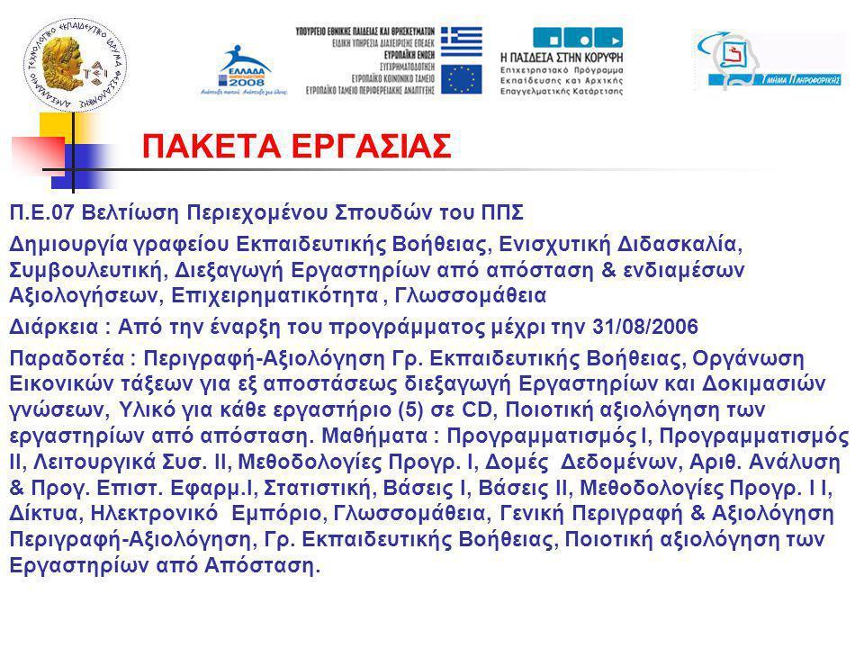 Π.Ε.07 Βελτίωση Περιεχομένου Σπουδών του ΠΠΣ Δημιουργία γραφείου Εκπαιδευτικής Βοήθειας, Ενισχυτική Διδασκαλία, Συμβουλευτική, Διεξαγωγή Εργαστηρίων από απόσταση & ενδιαμέσων Αξιολογήσεων, Επιχειρηματικότητα, Γλωσσομάθεια Διάρκεια : Από την έναρξη του προγράμματος μέχρι την 31/08/2006 Παραδοτέα : Περιγραφή-Αξιολόγηση Γρ.