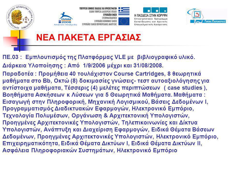 ΠΕ.03 : Εμπλουτισμός της Πλατφόρμας VLE με βιβλιογραφικό υλικό. Διάρκεια Υλοποίησης : Από 1/9/2006 μέχρι και 31/08/2008. Παραδοτέα : Προμήθεια 40 τουλ